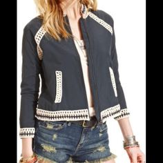 Free people crochet baseball jacket Navy free people baseball jacket. Has crochet detailing on the collar, hem, sleeves, and pockets. Never worn before, new with tags! Free People Jackets & Coats