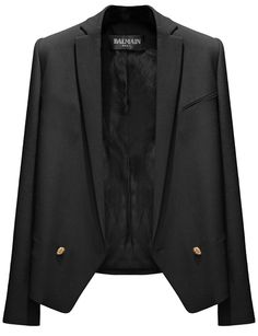 Blazers are a great way to dress up a casual outfit- Love the gold buttons on this Balmain.