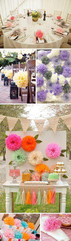 Decoración original de bodas con pompones de papel