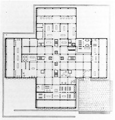 "In 1956, the architect Louis Kahn was invited to take part in the competition for ""The Olin Library"", a 200.000 square feet building in Washington. The uncompromising design of the proposal, a cruciform pyramid, didn't convince the jury which preferred the more reassuring project by Joseph Murphy and Eugene Mackey from St. Louis."