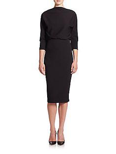 Badgley Mischka Dolman-Sleeve Blouson Dress