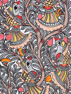 Tree of Life with Bird Painting x Tree Of Life Painting, Painting Still Life, Madhubani Art, Madhubani Painting, Diy Art, Craft Art, Kalamkari Painting, Indian Folk Art, Indian Art Paintings