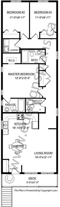 Front to Back Narrow Duplex 2012671 - Edesignsplans.ca