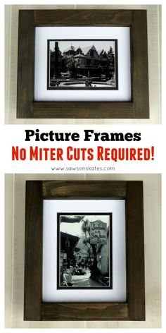 Looking for homemade wooden picture frame ideas? Check out this free, easy plan that shows you step by step how to make picture frames. The best part? No miter cuts! This is an easy to build tutorial and the frames make great gifts.