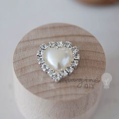 Pearl and Crystal Heart, Small pearl heart with crystal border, Heart shaped decoration for DIY wedding stationery and invitations