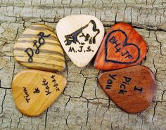 ONE CUSTOM ENGRAVED Wooden Guitar Pick - (Choose Wood Type and Design)