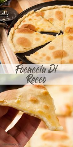 Focaccia di Recco by Sugar Salt Magic. Not like focaccia bread but instead two paper thin layers of dough, filled with oozy melted cheese. Easy Bread Recipes, Gf Recipes, Gourmet Recipes, Italian Recipes, Baking Recipes, Healthy Recipes, Baking Pies, Sweets Recipes, Homemade Ravioli Dough