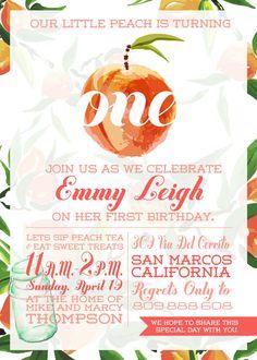 Georgia Peach Invitation, First Birthday Invitation, Peach Party, Just Peachy, You're a Peach, Peach Birthday, First Birthday, Turning One