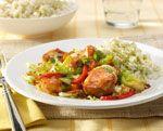 Wok van kip met rijst