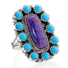 Chaco Canyon Southwest Blue and Purple Turquoise Sterling Silver Ring at HSN.com.