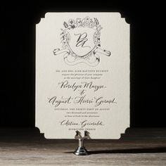 Bella Figura's Laurent letterpress wedding invitation is a classic design with regal flair - complete with elegant hand calligraphy and a custom monogram.