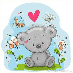 bear-flowers-cute-teddy-butterflies-meadow-60814097.jpg (400×400)