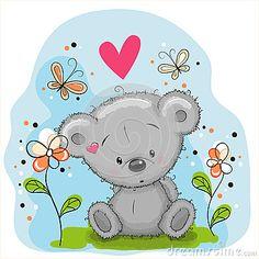 bear-flowers-cute-teddy-butterflies-meadow-60814097.jpg (400×400)