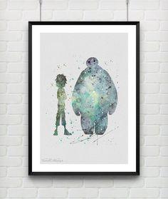 Hiro Hamada and Baymax Disney Watercolor Print, Big Hero 6 Watercolor Poster, Digital Watercolor Art, Childrens Room Wall Art, Minimalist Art, Home