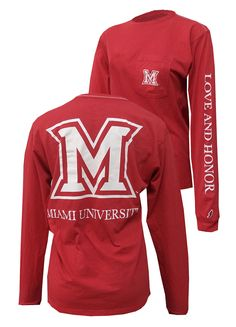 Miami University Red Long Sleeve Tee with Pocket