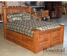 C-008 Bed w/Drawers Striking and classic, this custom handcrafted piece provides extra storage with drawer underneath, and is sure to be a perfect fit for your collection. Pair it with other pieces from Homestead Furniture. Choose from a variety of paints, stains and hardwoods to create the look you want.   http://homesteadfurnitureonline.com/custom-008-bed-drawers.html