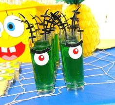 Plankton jello Dollar store bins into spongebob, lei holder Kelp aid! Spongebob Birthday Party, 25th Birthday Parties, Birthday Party Decorations, 2nd Birthday, Birthday Ideas, Spongebob Crafts, Party Time, Jello Cups, Sponge Bob Birthday