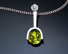 peridot necklace - silver necklace - August birthstone - gemstone jewelry - eco-friendly - Argentium silver - green necklace - CZ - 3441. $172.00, via Etsy.