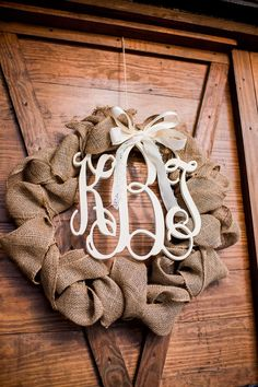 Monogrammed Wreath  -- would be perfect for the entrance to the ceremony