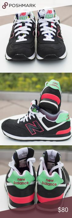 """New Balance 574 size 10 These are so Cute!  From the """"Tropical Pack"""" series.They will never go out it of style. the colors are Black, Coral, and Green. Running shoes. NWOT. All pics taken by HSolanophotography.com New Balance Shoes Sneakers"""