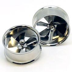 """Stainless Steel Spinner Pinwheel Double Flared Ear Gauge Plug Tunnel ~ 3/4"""" ~ 19mm ~ Sold as a Pair"""