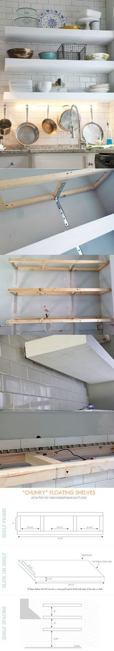 """chunky"" Diy Floating Kitchen Shelves -"