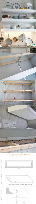 """chunky"" Diy Floating Kitchen Shelves -"