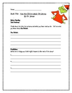 How the Grinch Stole Christmas Comprehension Guide