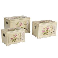 245 € Set de 3 baúles de madera blanco roto con estampado de flores en la parte superior y la cara frontal estilo provenzal Asas de metal color plateado