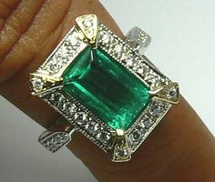 Antique Inspired Colombian Emerald & Diamond Cocktail ring~