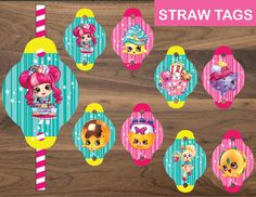 Shopkins decoration for your super party!  You'll recieve 2 JPG files:  • 8 different illustrated tags       You ca download Shopkins Straw...