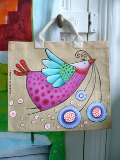fabric painted tote