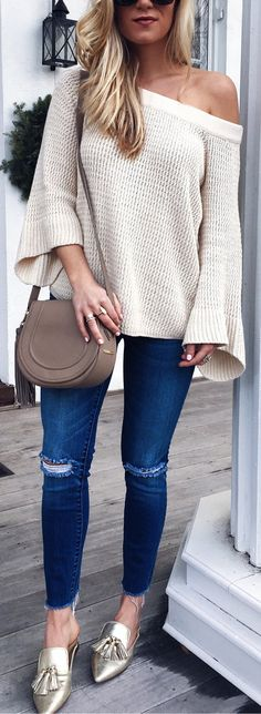 White Knit / Navy Ripped Skinny Jeans / Metallic Pumps