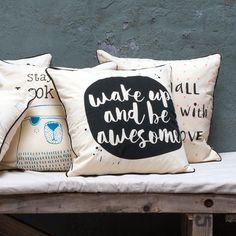 Pillowcases that help brighten up the day. 40x40 cm.  #owndesign #pillowcases #wakeupandbeawesome #interior #decoration #inspiration #sostrenegrene #søstrenegrene #grenehome