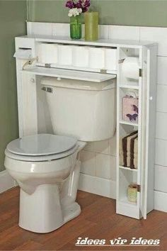 20 bathroom storage over toilet organization ideas. You have a small bathroom and you don't have idea how to design it? A small bathroom can look great and be fully functional as the large bathrooms. Home Diy, Storage, Home Organization, Over Toilet, Home Projects, Simple Storage, Home Decor, Bathroom Storage, Over The Toilet Cabinet