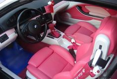 bmw pink interior with hello kitty!