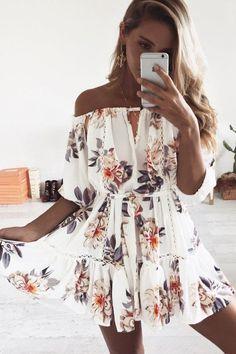 White Color Half Sleeves Off Shoulder Flower Print Sexy Short Dress