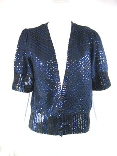 MARC BY MARC JACOBS Blue Sequin Short Sleeve Cropped Cardigan Sweater Size Large #MarcbyMarcJacobs #Cardigan