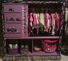 I made this closet for my grand daughter using an entertainment center.