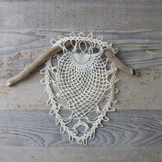 vintage tatting + crochet + driftwood