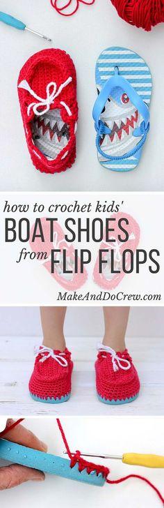 Crochet Toddlers Flip Flop Boat Shoes Free Pattern