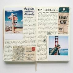 ▷ 1001 + Ideas for Adventure Journal Designs for Your Inner Traveler - scrapbook layouts, open sketchbook with photos, a ticket, a letter cutout with stamp, flower drawin - Album Journal, Scrapbook Journal, Photo Journal, My Journal, Travel Scrapbook, Journal Pages, Scrapbook Layouts, Journal Ideas, Scrapbook Albums