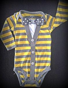 Baby Boy Cardigan onesie with Bow Tie  Preppy by BabyBobbers, $30.00