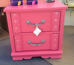 For The Love of Pink, Nightstand, Hot Pink, Upcycled
