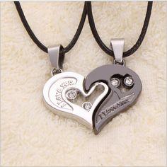 2 unids Encanto Splice Rhinstone Corazón Colgante de Los Amantes Collar de la Letra de Las Mujeres Regalos Joyería de plata Pico negro Envío Gratis