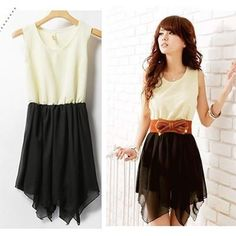 LOVE her belt. dress looks way better on her than on the hanger. Skirts Chiffon Mini Dress Casual