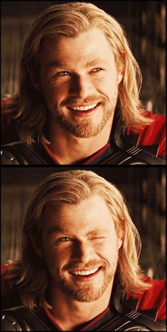Chris Hemsworth- and this is why I LOVE Thor so damn much! well, his adorable wink and a 1,000 other reasons.