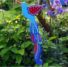 """Gartenstecker++Paradiesvogel+türkis+""""Shangrila""""+von+KIMAMA-design++auf+DaWanda.com"""