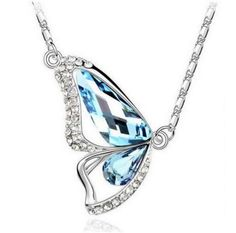 Colorful Crystal Butterfly Necklace