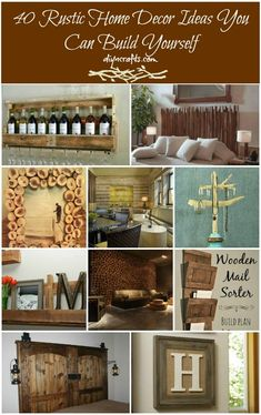 40 Rustic Home Decor Ideas You Can Build Yourself--- slat coffee table, cabinet handles, stone island,  wood wall